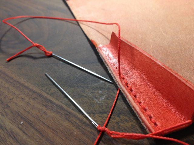 名刺入れのマチの縫い付け