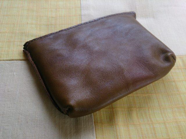 革製袋縫い手作りポーチ