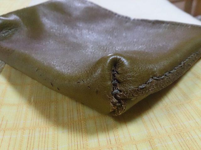 革製マチ付きポーチの底部(失敗作)