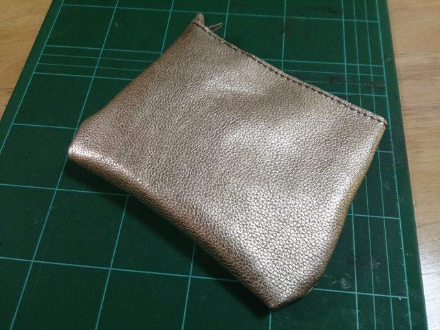 革で自作した袋縫いポーチ