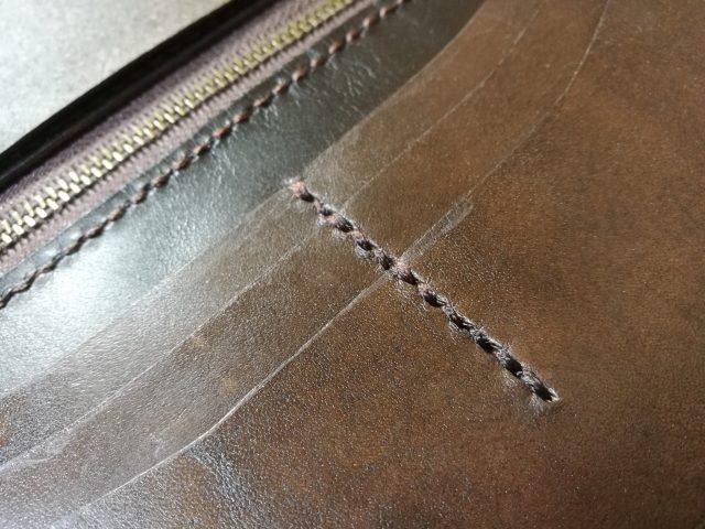カードケースの縫い目