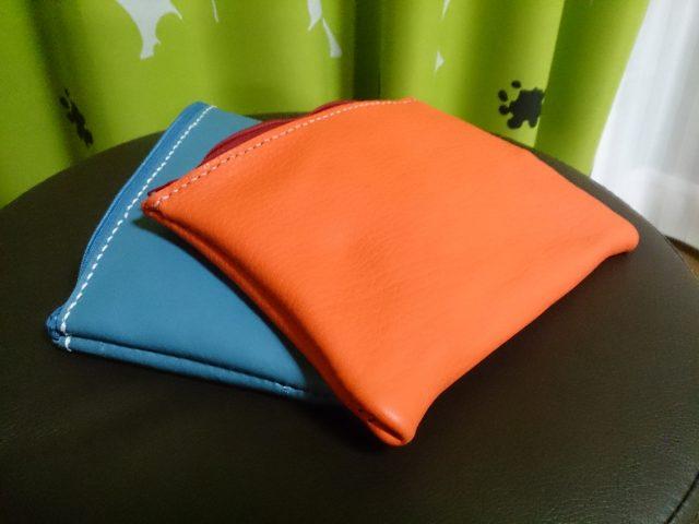 本革手作り袋縫いポーチ
