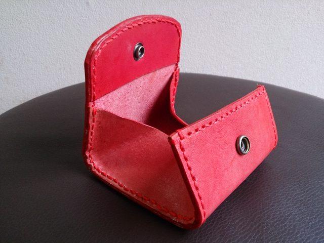 レザークラフトで作った手作りボックス型コインケース