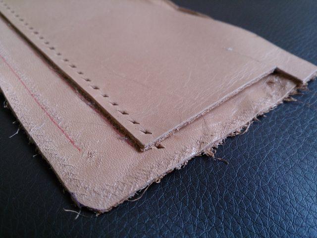 カードケース段の菱目打ち